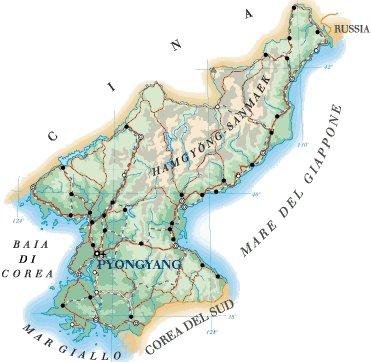 Cartina Nord.Mappa Corea Del Nord Cartina